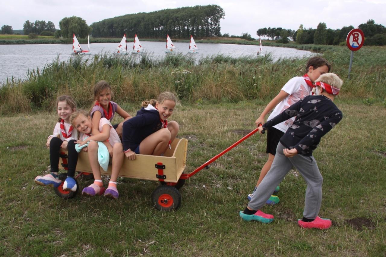 kinderen in een minihuifkar tijdens boerderijkamp