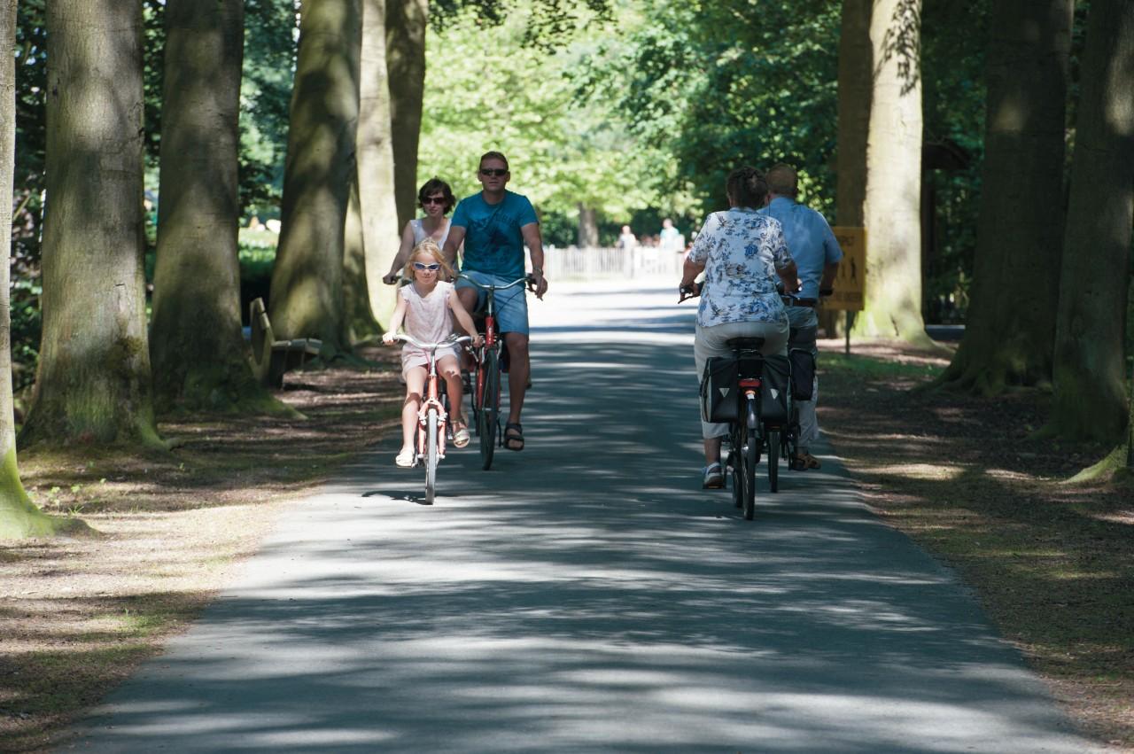 fietsende bezoekers